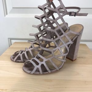 SCHUTZ Juliana caged heels. Nude. Size 8